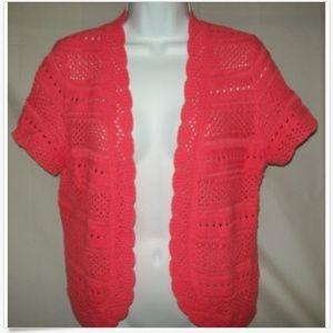 Short Sleeve Open Knit Pink Scallop Edge Cardigan